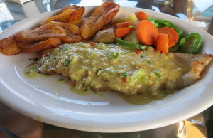 Panamanian Curried Fish with Sweet Plantains and Steamed Vegetables