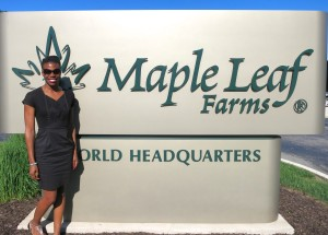 Me outside of the Maple Leaf Farms HQ - About to head in for class!