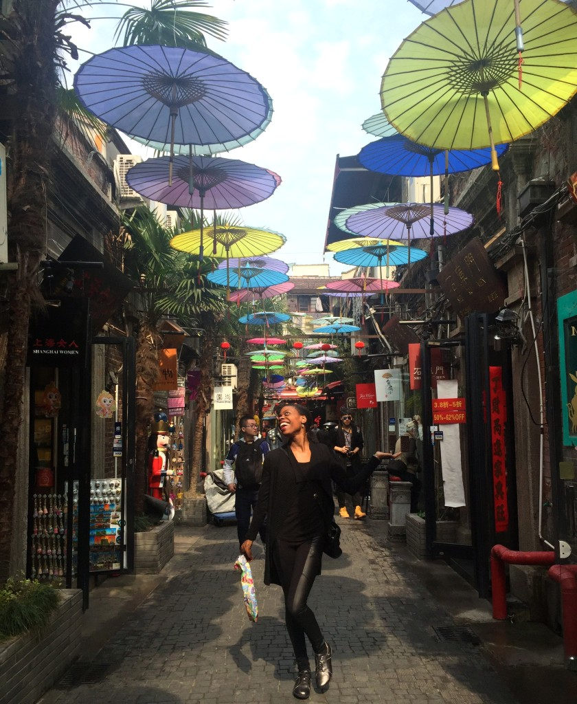 In the French Concession area frolicking under the umbrellas!