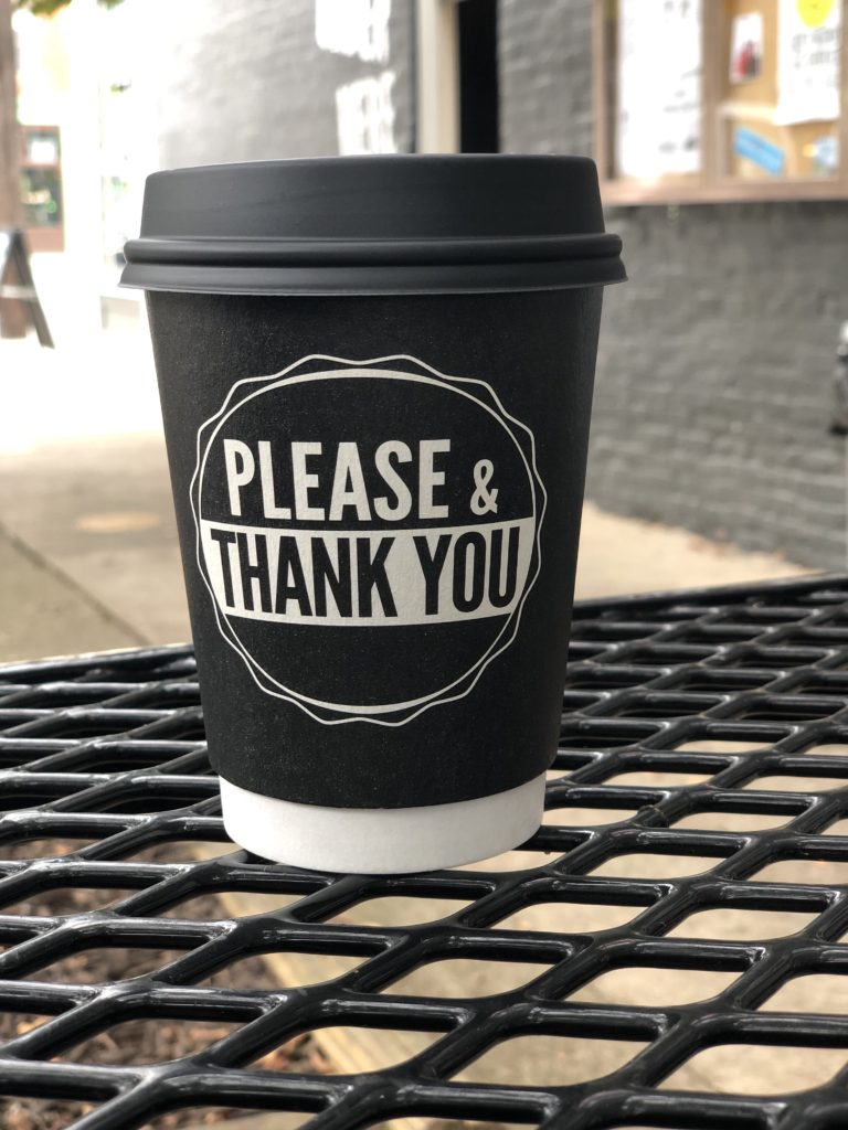 Coffee cup from Please and Thank You shop in Louisville, KY